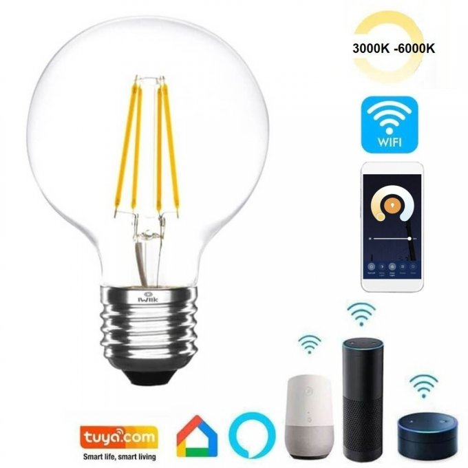 Ampoule LED 7W SMART Wifi CCT Filament - G80 Dimmable - E27